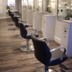 hair styling chairs in modern beauty salon