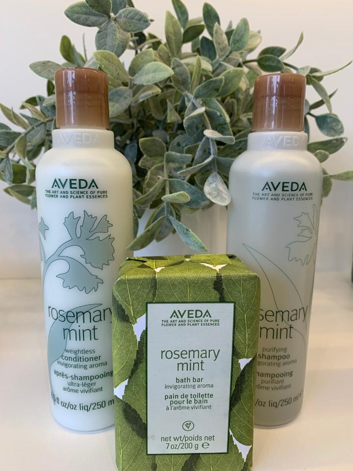 aveda products at a hair salon